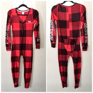 VS PINK THERMAL PLAID SEQUINED PAJAMAS W/ FLAP